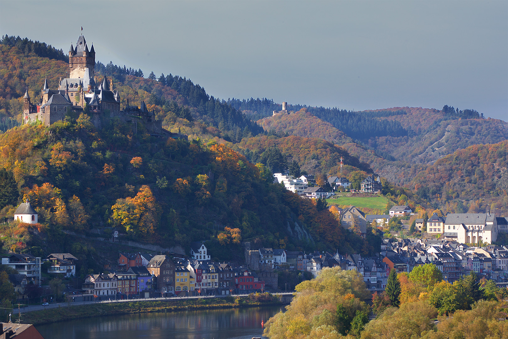 Cochem with Reichsburg and Mozel river , Germany